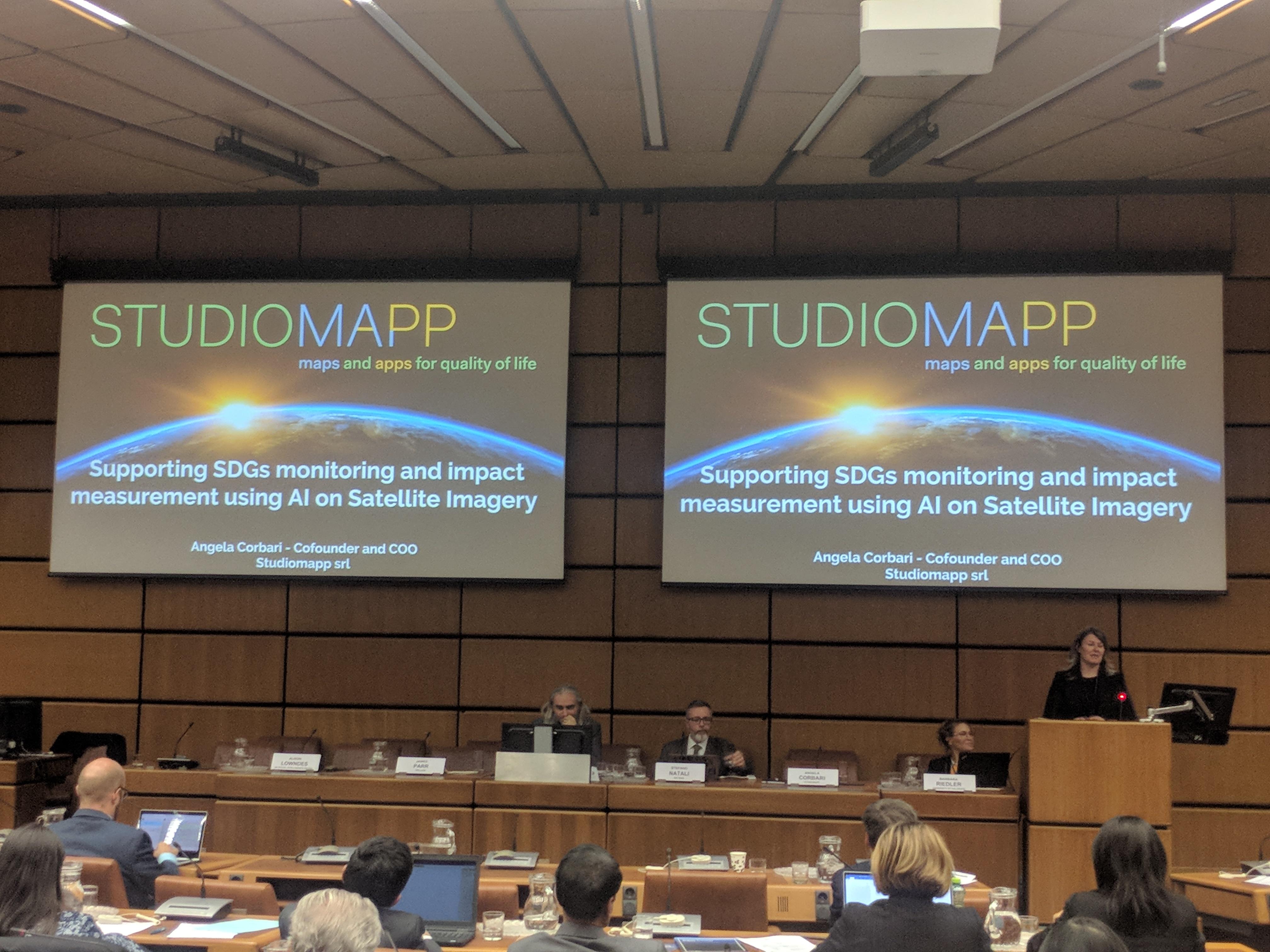 Angela Corbari presenta le attività di Studiomapp al World Space Forum di UNOOSA-2