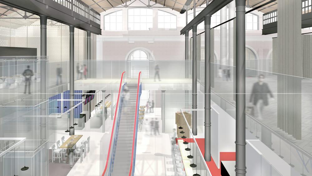 Rendering 3D Interno Mercato Coperto Ra2-2
