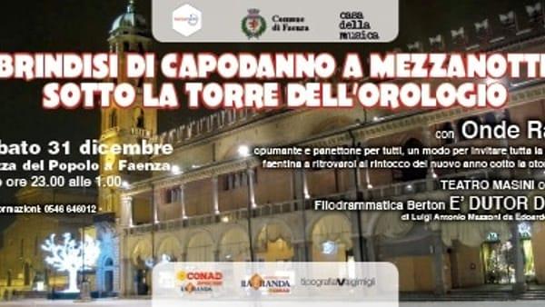 A Faenza Capodanno con brindisi sotto la Torre dell'Orologio