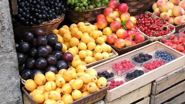 Varietà di vegetali e trattori alla Mostra della Fruttiviticoltura