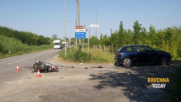 Incidente a Classe con lo scooter (foto Argnani)